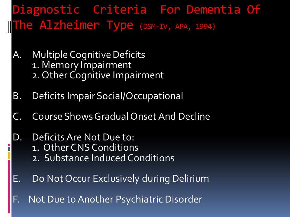 Diagnostic Criteria For Dementia Of The Alzheimer Type (DSM-IV, APA, 1994) A.Multiple Cognitive Deficits 1. Memory Impairment 2. Other Cognitive Impai