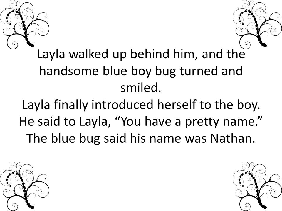 Layla walked up behind him, and the handsome blue boy bug turned and smiled.