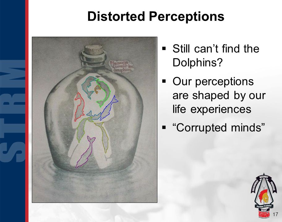 17 Still cant find the Dolphins? Our perceptions are shaped by our life experiences Corrupted minds Distorted Perceptions