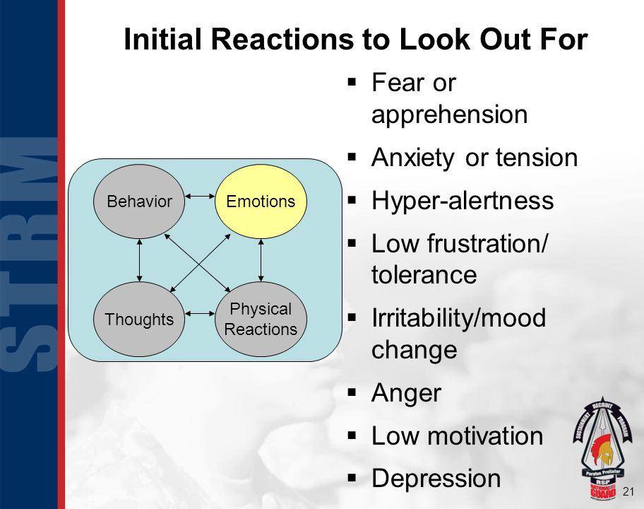 21 Fear or apprehension Anxiety or tension Hyper-alertness Low frustration/ tolerance Irritability/mood change Anger Low motivation Depression Behavio