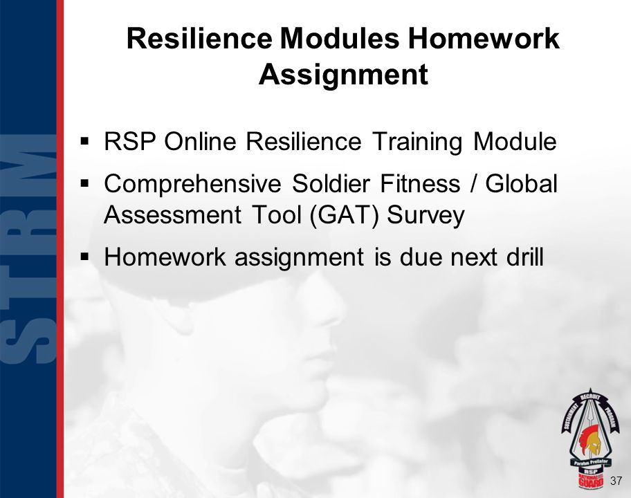 37 RSP Online Resilience Training Module Comprehensive Soldier Fitness / Global Assessment Tool (GAT) Survey Homework assignment is due next drill Resilience Modules Homework Assignment