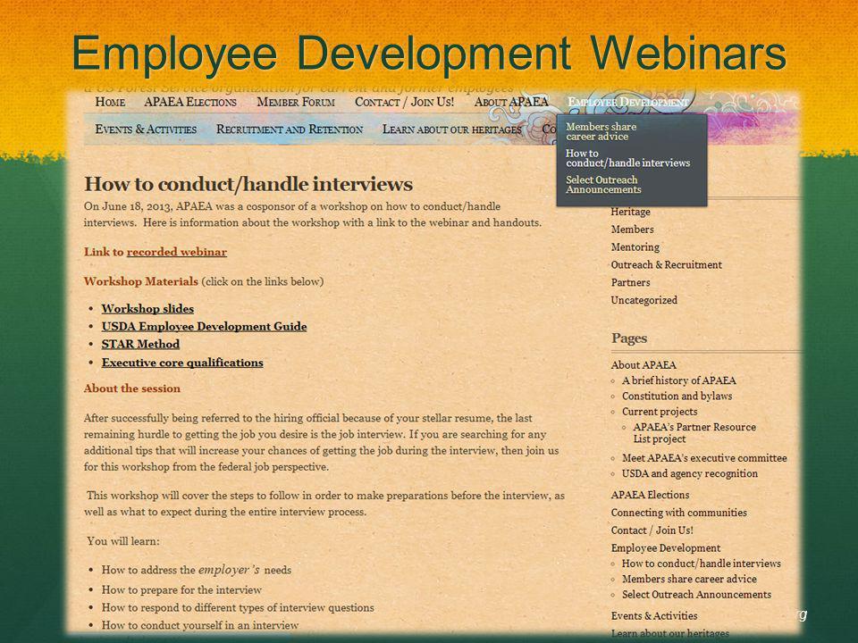 Employee Development Webinars APAEA.org