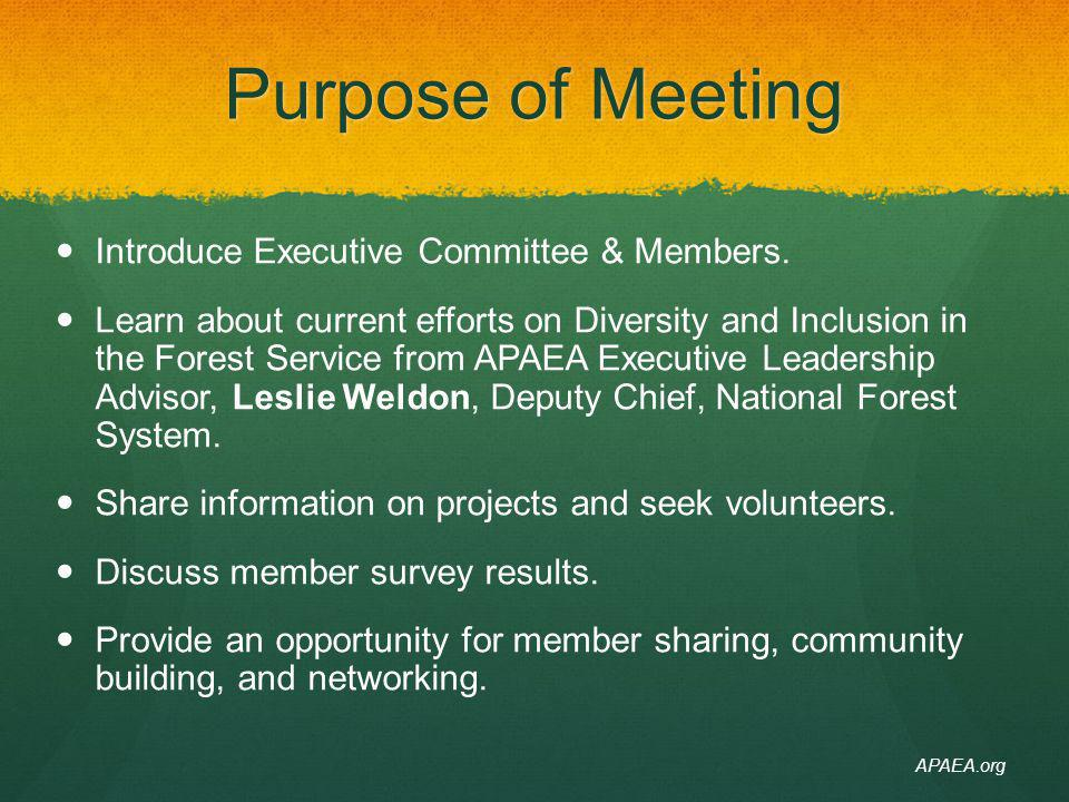 Purpose of Meeting Introduce Executive Committee & Members. Learn about current efforts on Diversity and Inclusion in the Forest Service from APAEA Ex