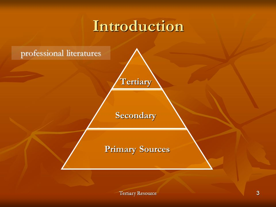 Tertiary Resource3 IntroductionTertiarySecondary Primary Sources professional literatures
