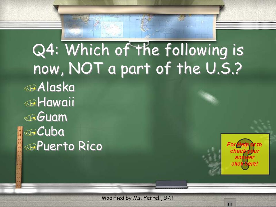 Q3: Answer / Hawaii, we didn't win it from Spain. Return Modified by Ms. Ferrell, GRT