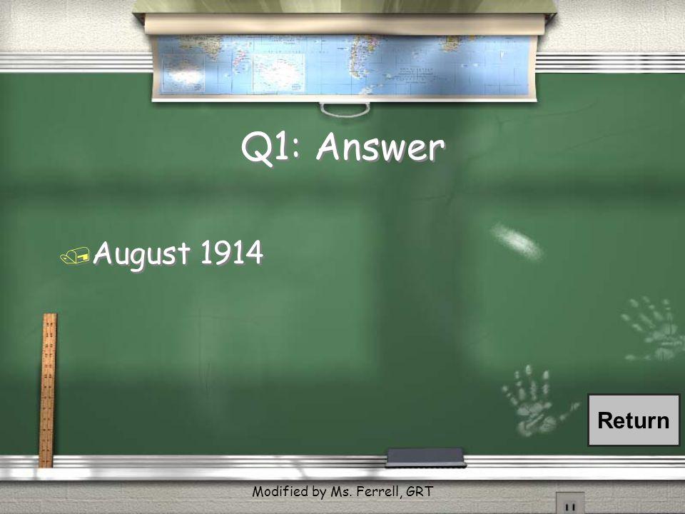 Q6: Answer / in Havana Harbor Return Modified by Ms. Ferrell, GRT