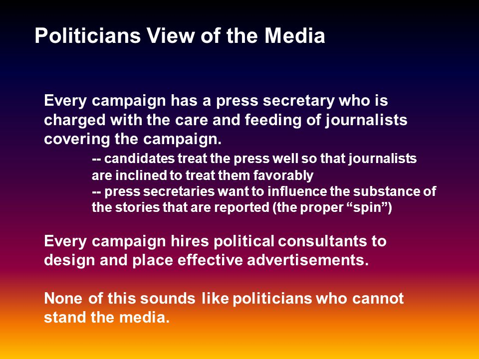 Politicians View of the Media You cant live with em....