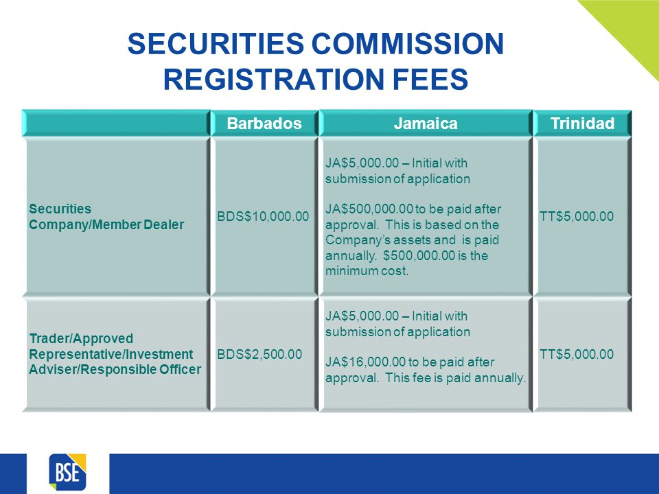 SECURITIES COMMISSION REGISTRATION FEES BarbadosJamaicaTrinidad Securities Company/Member Dealer BDS$10,000.00 JA$5,000.00 – Initial with submission of application JA$500,000.00 to be paid after approval.