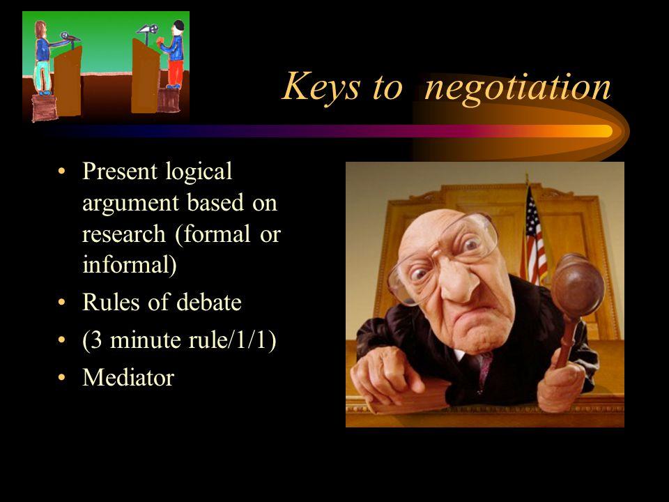 Keys to negotiation Present logical argument based on research (formal or informal) Rules of debate (3 minute rule/1/1) Mediator