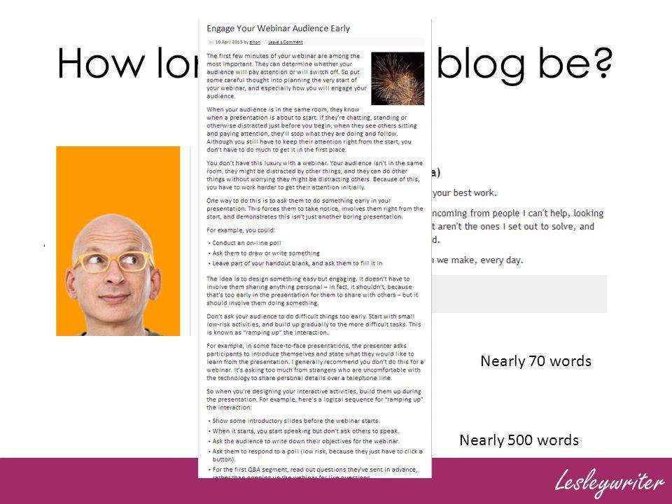 Lesleywriter How long should a blog be.