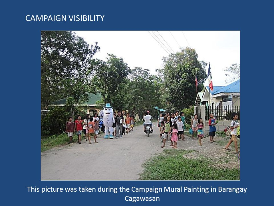 This picture was taken during the Campaign Mural Painting in Barangay Cagawasan CAMPAIGN VISIBILITY
