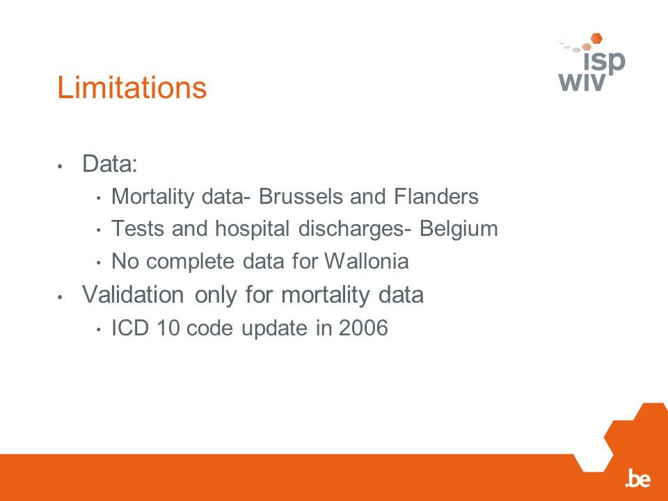 Limitations Data: Mortality data- Brussels and Flanders Tests and hospital discharges- Belgium No complete data for Wallonia Validation only for mortality data ICD 10 code update in 2006