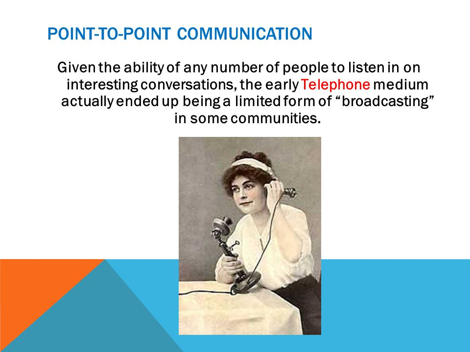 POINT-TO-POINT COMMUNICATION Given the ability of any number of people to listen in on interesting conversations, the early Telephone medium actually ended up being a limited form of broadcasting in some communities.