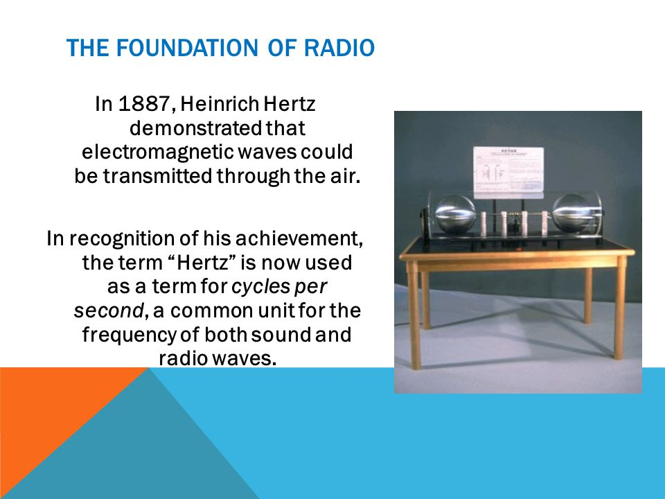 THE FOUNDATION OF RADIO In 1887, Heinrich Hertz demonstrated that electromagnetic waves could be transmitted through the air.