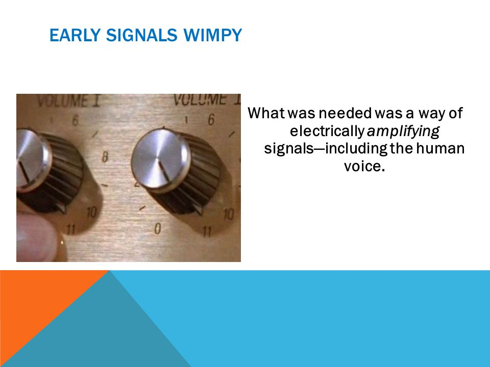 EARLY SIGNALS WIMPY What was needed was a way of electrically amplifying signalsincluding the human voice.