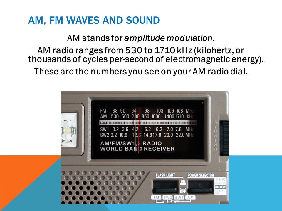 AM, FM WAVES AND SOUND AM stands for amplitude modulation. AM radio ranges from 530 to 1710 kHz (kilohertz, or thousands of cycles per-second of elect