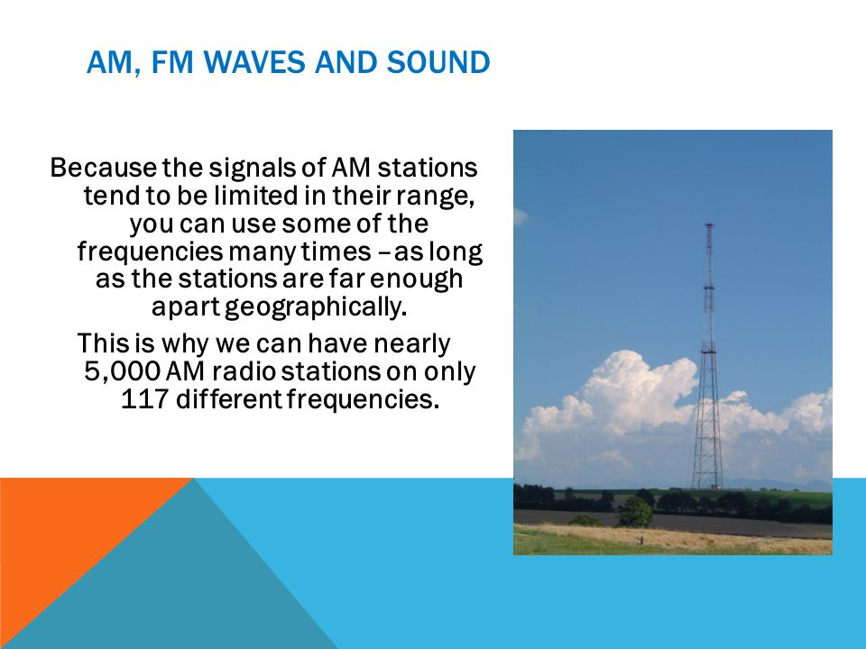AM, FM WAVES AND SOUND Because the signals of AM stations tend to be limited in their range, you can use some of the frequencies many times –as long as the stations are far enough apart geographically.