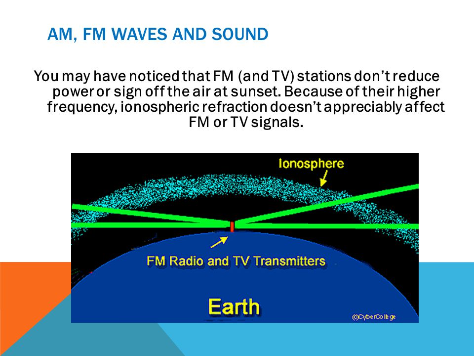 AM, FM WAVES AND SOUND You may have noticed that FM (and TV) stations dont reduce power or sign off the air at sunset. Because of their higher frequen