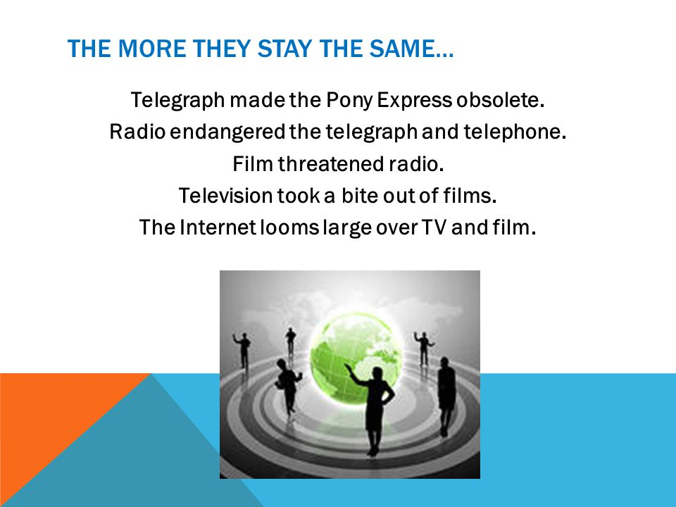 THE MORE THEY STAY THE SAME… Telegraph made the Pony Express obsolete. Radio endangered the telegraph and telephone. Film threatened radio. Television