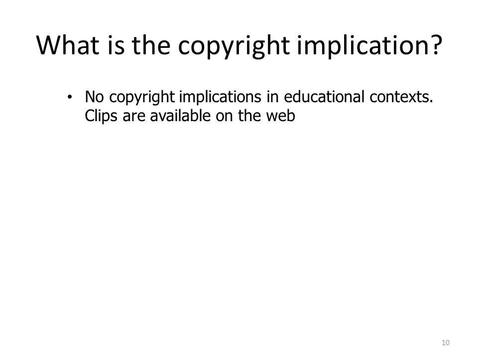 What is the copyright implication. No copyright implications in educational contexts.