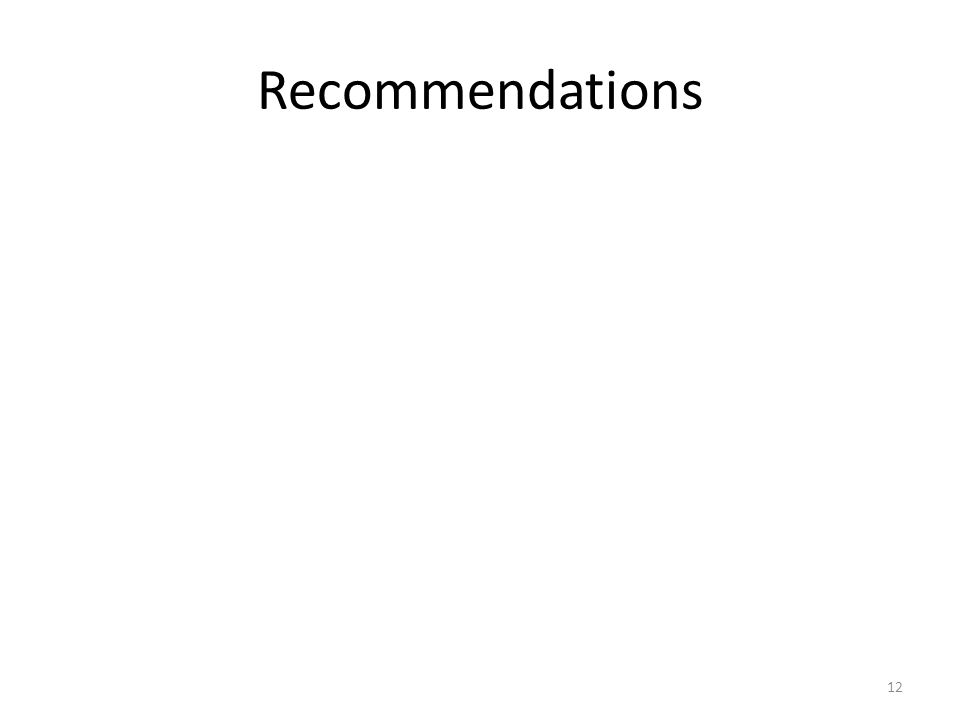 Recommendations 12