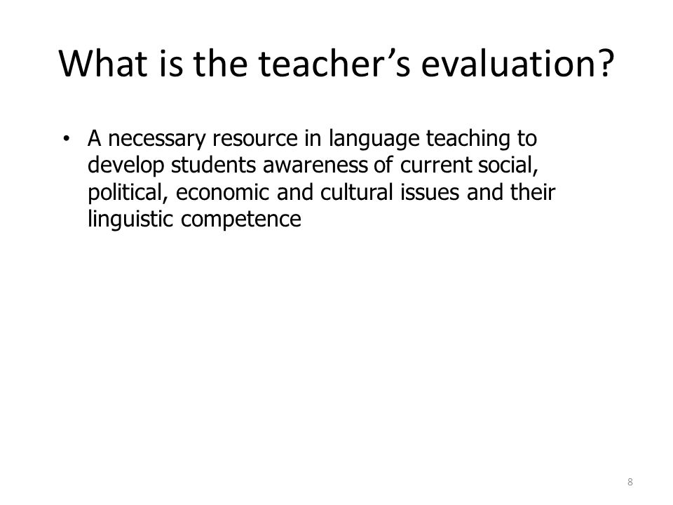 What is the teachers evaluation.
