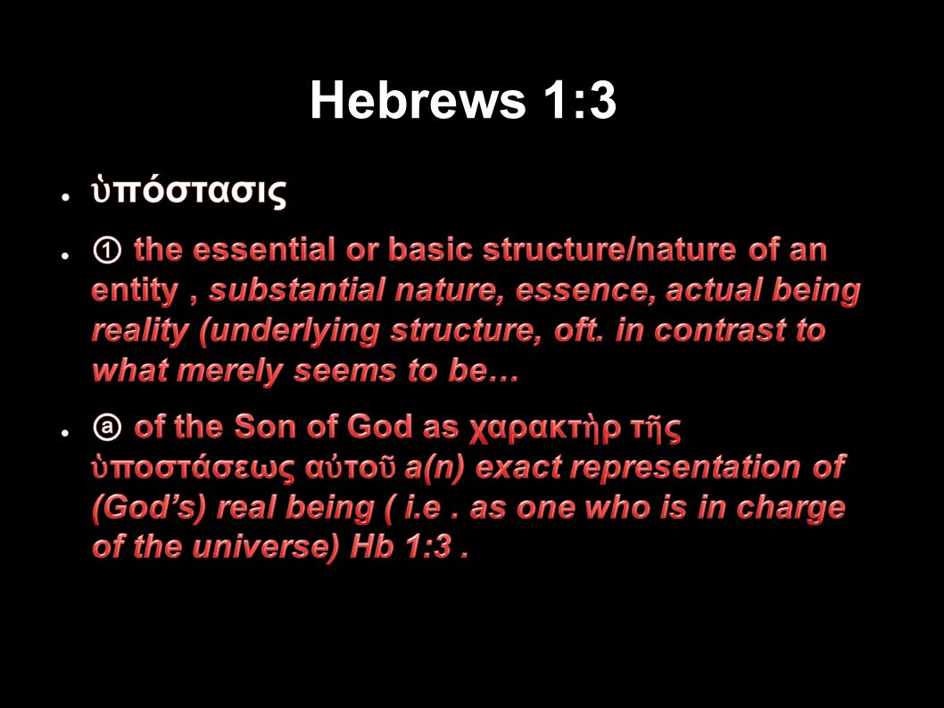Hebrews 1:3 Applied-Apologetics 84