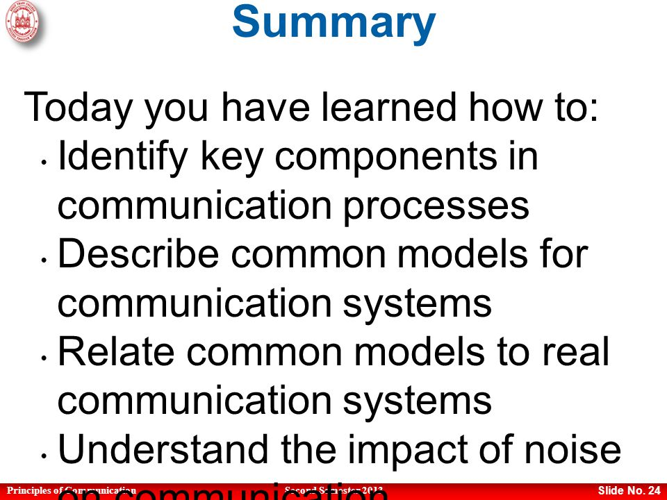 Principles of CommunicationSecond Semester 2013 Slide No.