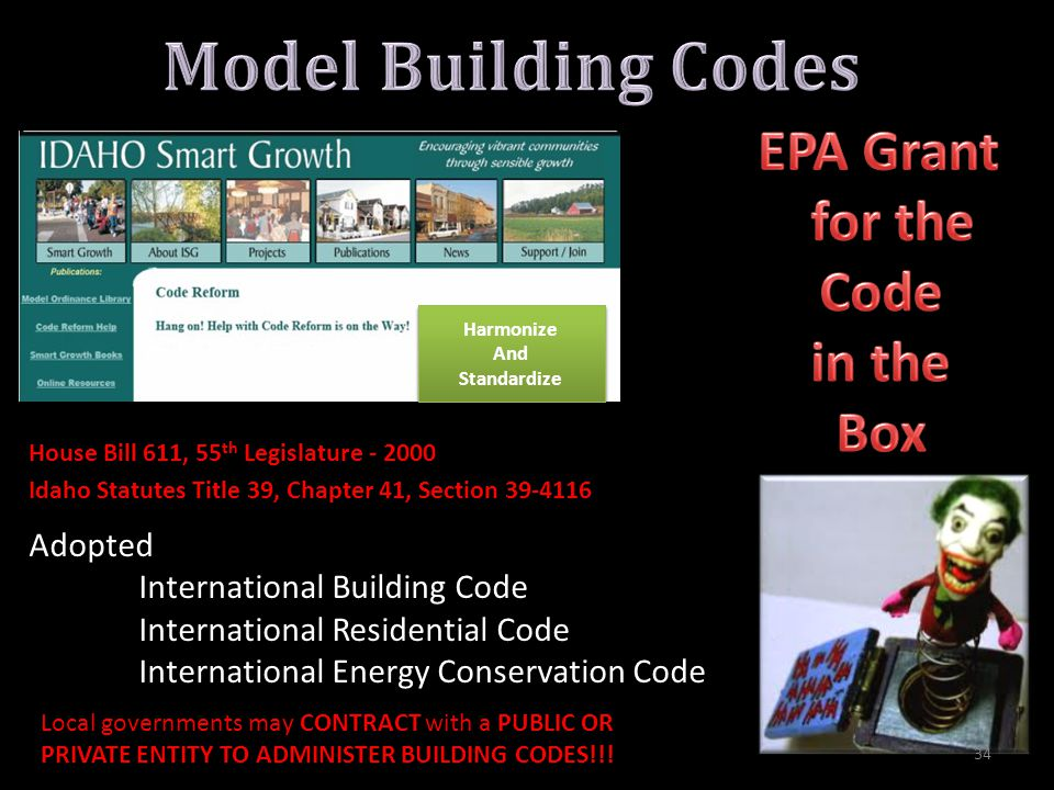 House Bill 611, 55 th Legislature - 2000 Adopted International Building Code International Residential Code International Energy Conservation Code Local governments may CONTRACT with a PUBLIC OR PRIVATE ENTITY TO ADMINISTER BUILDING CODES!!.