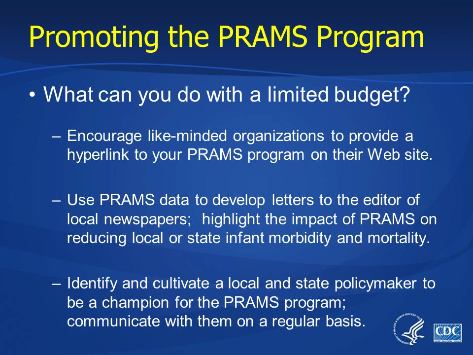 Promoting the PRAMS Program What can you do with a limited budget.