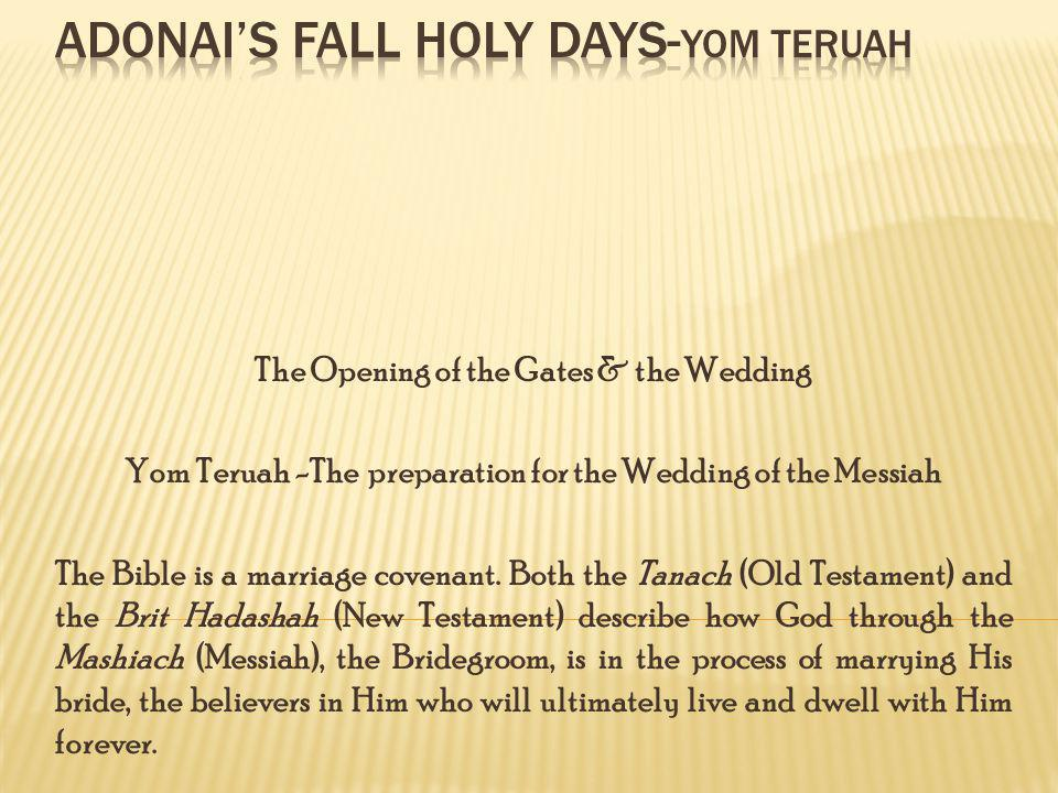 The Opening of the Gates & the Wedding Yom Teruah -The preparation for the Wedding of the Messiah The Bible is a marriage covenant.