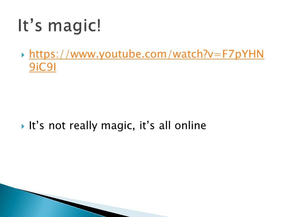 https://www.youtube.com/watch?v=F7pYHN 9iC9I https://www.youtube.com/watch?v=F7pYHN 9iC9I Its not really magic, its all online