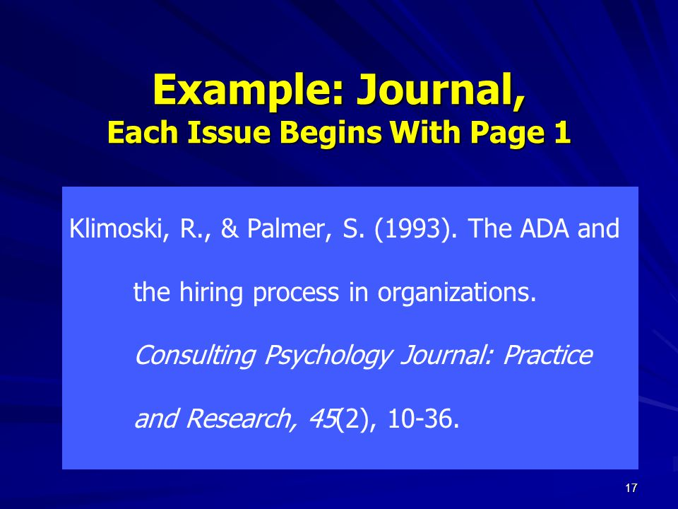 Example: Journal, Each Issue Begins With Page 1 Klimoski, R., & Palmer, S.