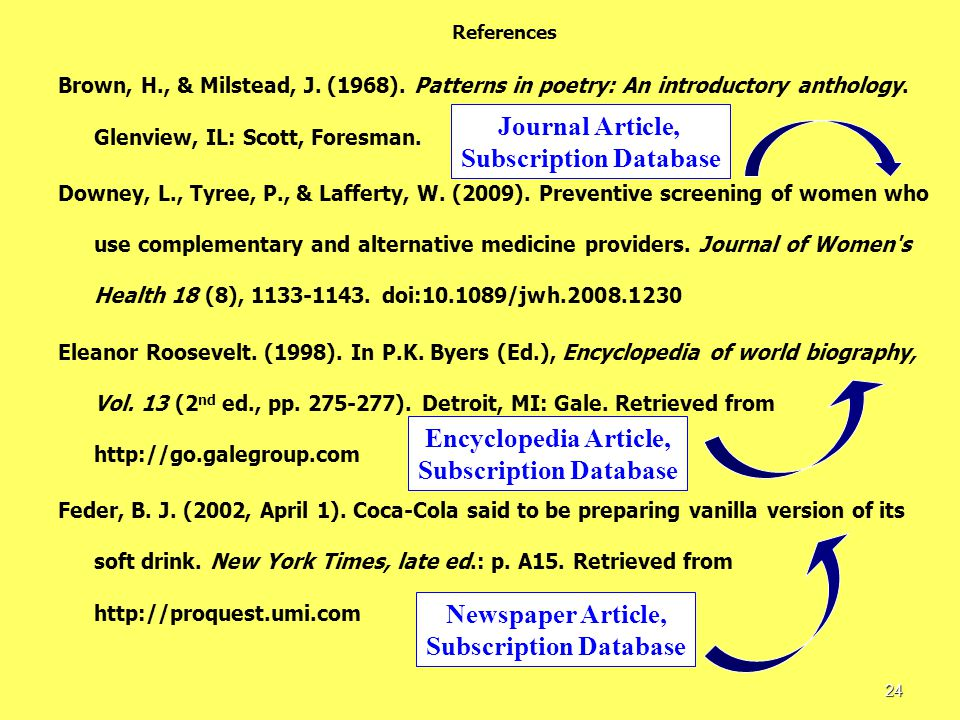 References Brown, H., & Milstead, J. (1968). Patterns in poetry: An introductory anthology.