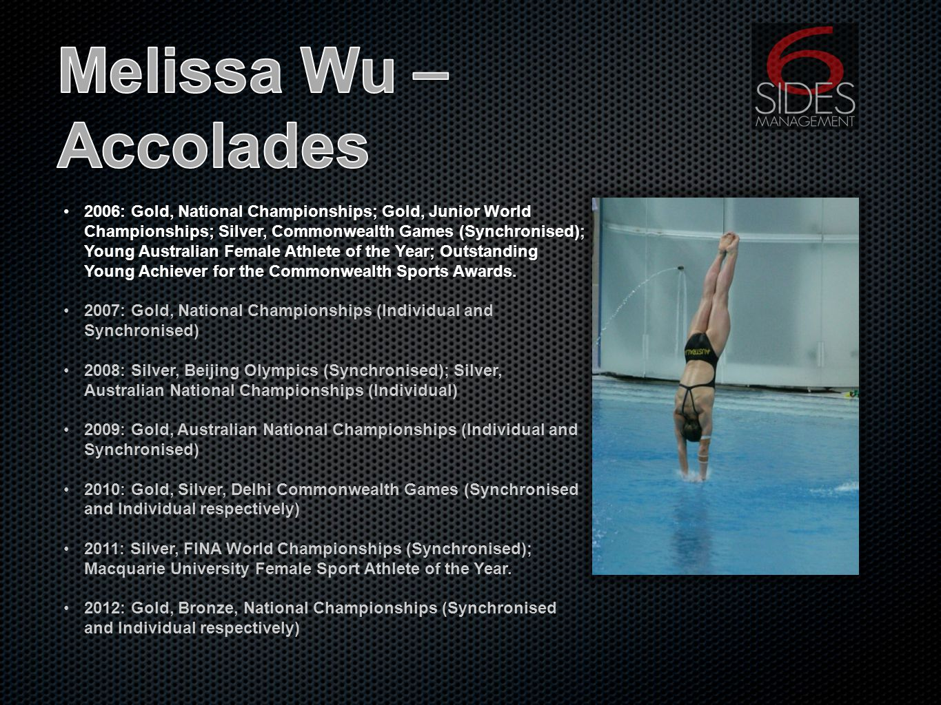 2006: Gold, National Championships; Gold, Junior World Championships; Silver, Commonwealth Games (Synchronised); Young Australian Female Athlete of the Year; Outstanding Young Achiever for the Commonwealth Sports Awards.2006: Gold, National Championships; Gold, Junior World Championships; Silver, Commonwealth Games (Synchronised); Young Australian Female Athlete of the Year; Outstanding Young Achiever for the Commonwealth Sports Awards.