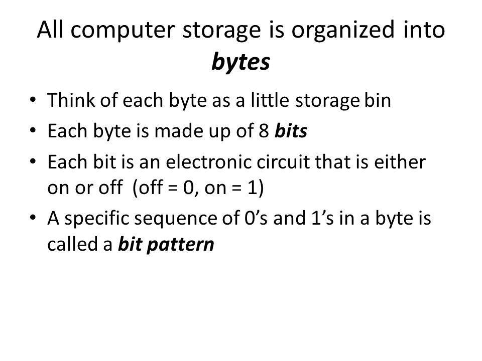 All computer storage is organized into bytes Think of each byte as a little storage bin Each byte is made up of 8 bits Each bit is an electronic circuit that is either on or off (off = 0, on = 1) A specific sequence of 0s and 1s in a byte is called a bit pattern