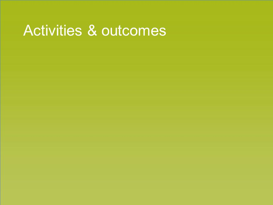 Section title goes here Activities & outcomes