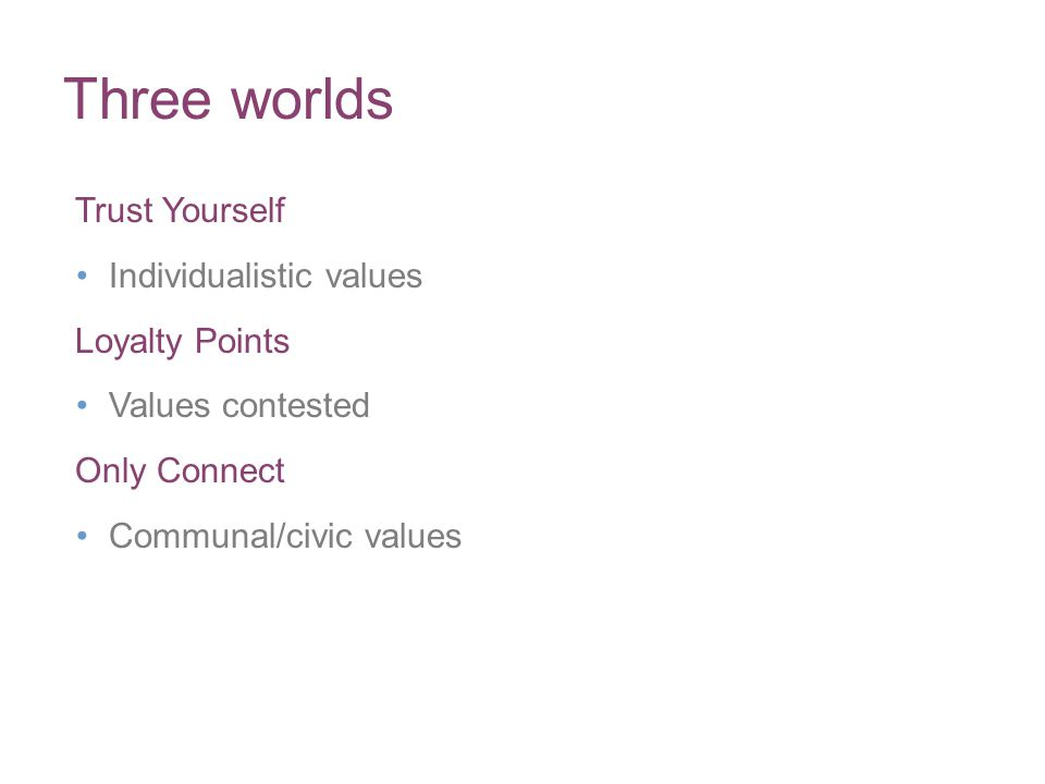 Three worlds Trust Yourself Individualistic values Loyalty Points Values contested Only Connect Communal/civic values