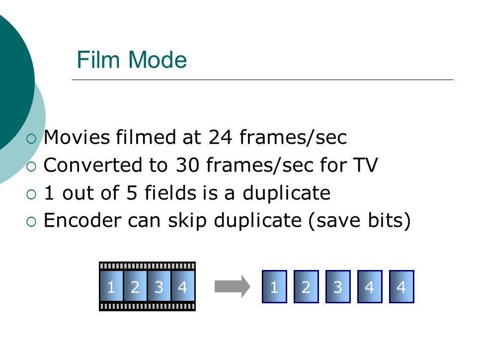Film Mode Movies filmed at 24 frames/sec Converted to 30 frames/sec for TV 1 out of 5 fields is a duplicate Encoder can skip duplicate (save bits) 123412344