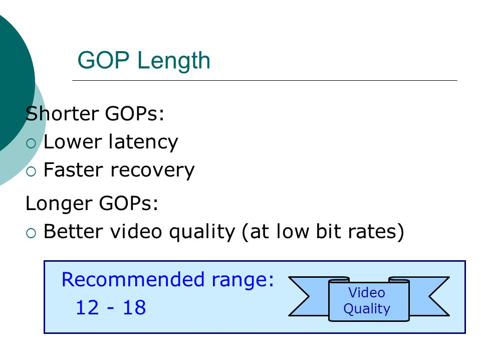 Shorter GOPs: Lower latency Faster recovery GOP Length (not always) Video Quality Recommended range: 12 - 18 Longer GOPs: Better video quality (at low bit rates)
