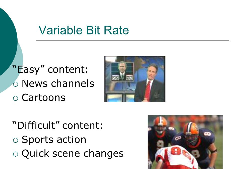 Variable Bit Rate Easy content: News channels Cartoons Difficult content: Sports action Quick scene changes