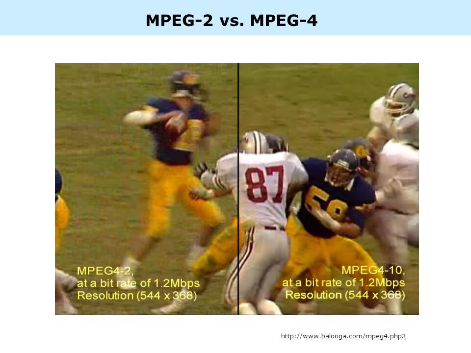 MPEG-2 vs. MPEG-4 http://www.balooga.com/mpeg4.php3