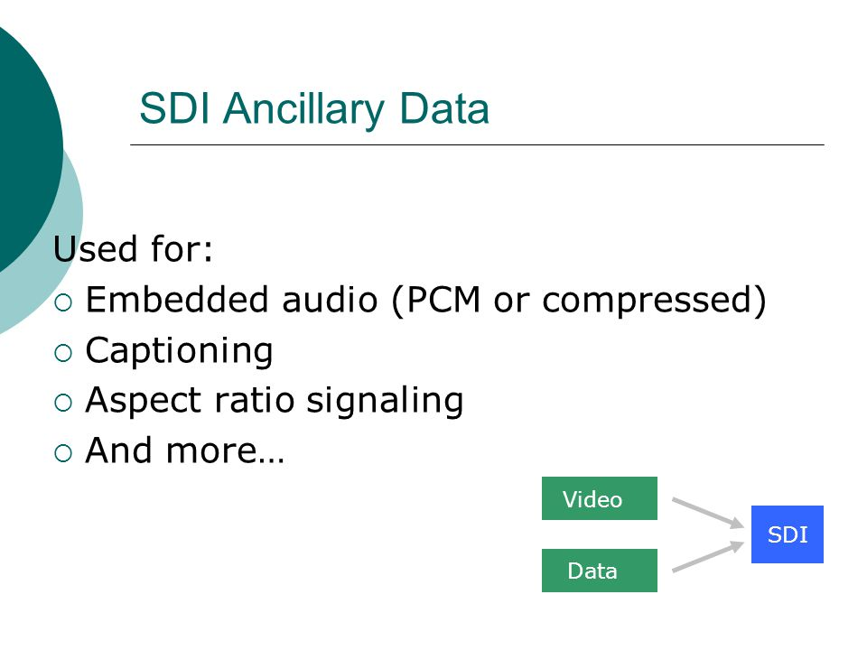 SDI Ancillary Data Used for: Embedded audio (PCM or compressed) Captioning Aspect ratio signaling And more… SDI Video Data