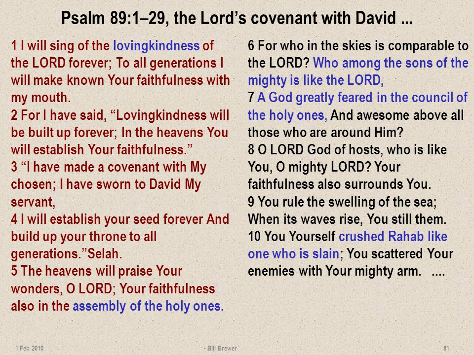 Psalm 89:1–29, the Lords covenant with David...