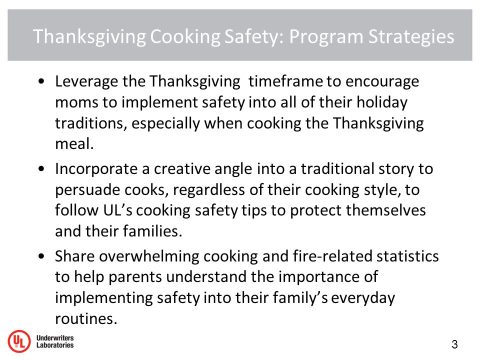 Thanksgiving Cooking Safety: Program Strategies Leverage the Thanksgiving timeframe to encourage moms to implement safety into all of their holiday traditions, especially when cooking the Thanksgiving meal.