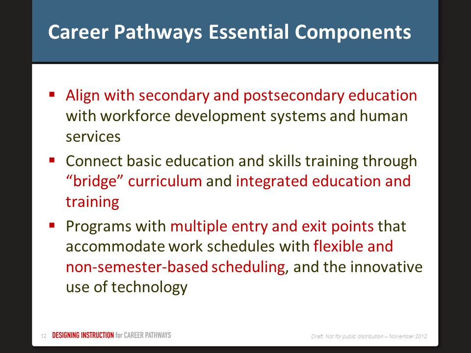 11 Draft. Not for public distribution – November 2012 Career Pathways Goals Career Pathways services should have among their goals: focus on secondary