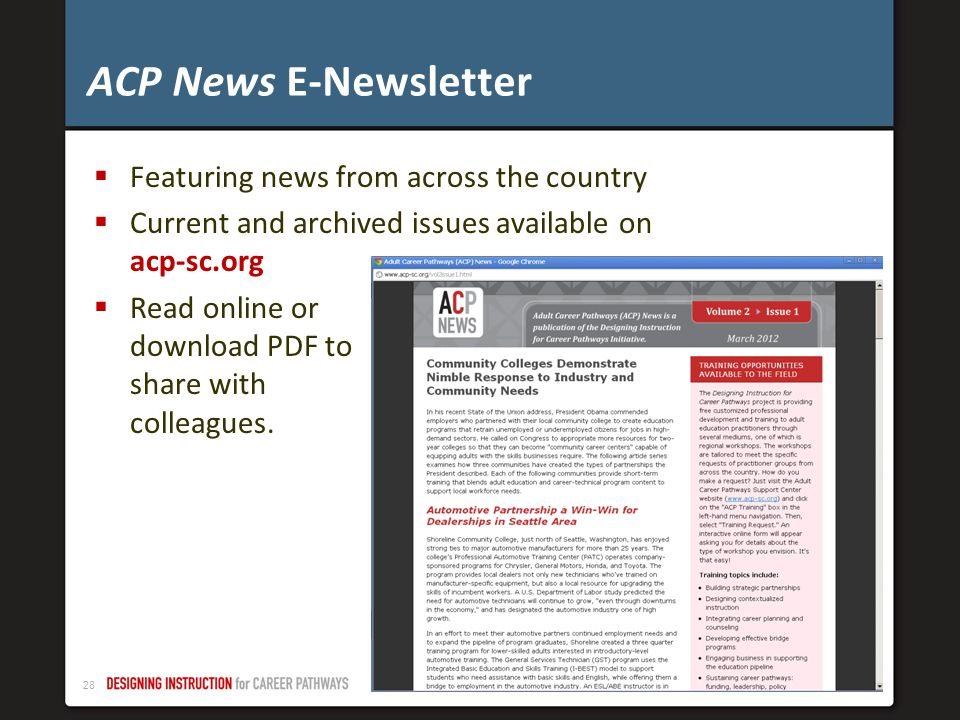 27 Draft. Not for public distribution – November 2012 ACP News and Events: Newsletters
