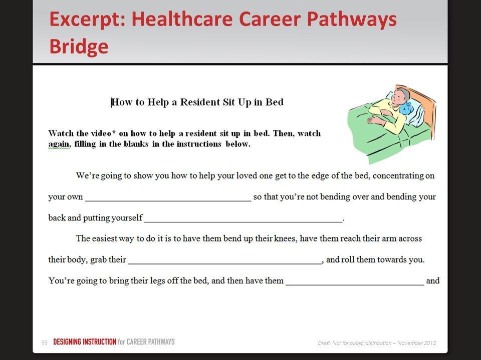 92 Draft. Not for public distribution – November 2012 Excerpt: Healthcare Career Pathways Bridge