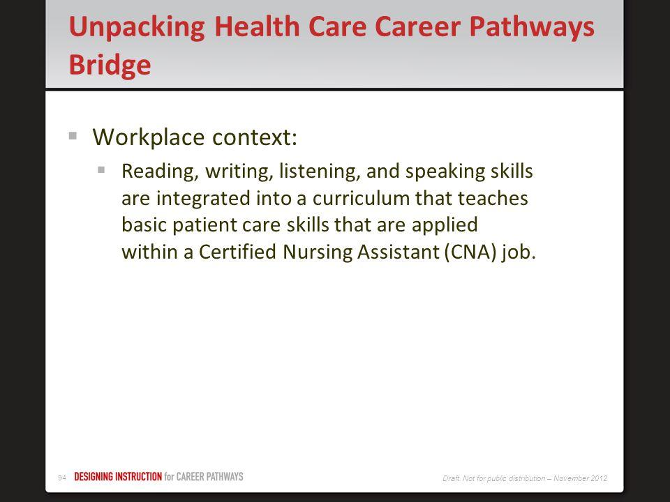 93 Draft. Not for public distribution – November 2012 Excerpt: Healthcare Career Pathways Bridge