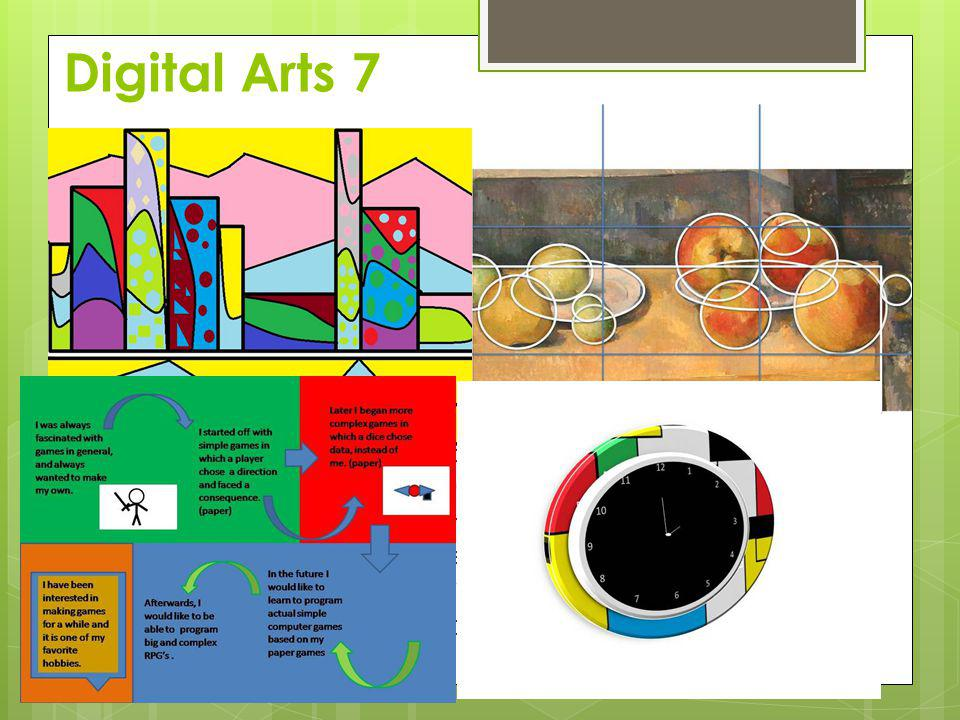 Digital Arts 7 Course focus Students will understand how to use familiar digital tools to draw To learn basic principles of photo manipulation Introdu